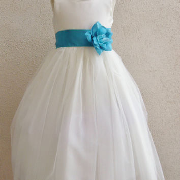 Flower Girl Dress Simple Dresses IVORY Blue Navy Turquoise Brown Burgundy Fuchsia Green Sage Guava Lilac Orange Pink Purple Red Teal Silver