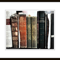 Old Books Photography, Still Life Fine Art Print, Earth tones wall decor,  PhotoByMADA
