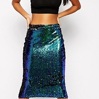 Modern Mermaid Blue Sequin Midi Skirt