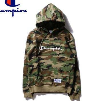 Champion embroidered camouflage and velvet hoodie