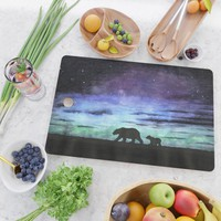 Aurora borealis and polar bears (black version) Cutting Board by savousepate