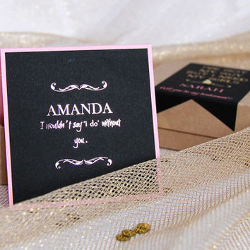 Set of 2 Bridesmaid Gift Boxes, Gold and Pink Foiled Gift Boxes, Bridesmaid Invitations, Will You Be My Bridesmaid Invitations, Party Favors