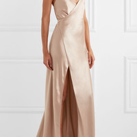 Michelle Mason - Silk-satin wrap gown