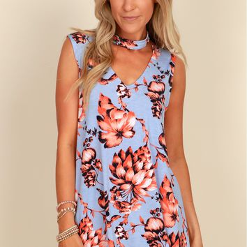 Sunset Flowers Floral Dress D.Blue/ D.Orange