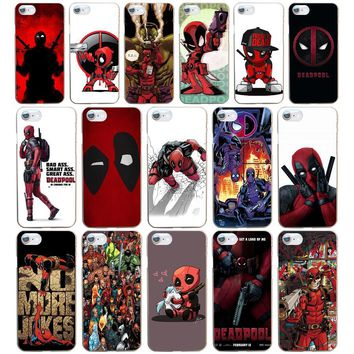 78DF Deadpool Marvel Wade Winston Wilson Hard Transparent Cover Case for iphone 4 4s 5 5s se 6 6s 8 plus 7 7 Plus X
