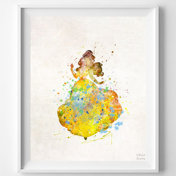 Beauty and the Beast Print, Belle Watercolor Art, Type 2, Disney Poster, Playroom Wall Art, Dorm Room Art, Nursery Art, Halloween Decor