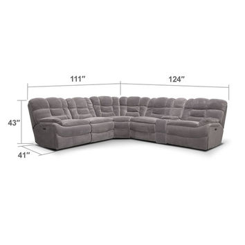Big Softie 6-Piece Power Reclining Sectional - Gray
