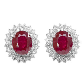 Vintage 16.55TCW Oval Cut Red Ruby White Sapphire Halo Stud Earrings