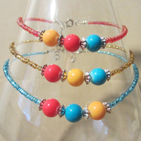 Handmade Red, Yellow & Turquoise Gumball Glass Bead Anklets w/ Silver Accents, Bright, Colorful, Playful, Summer, Fashion Jewelry