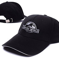 HEJIAXIN Jurassic World Logo Adjustable Baseball Caps Unisex Snapback Embroidery Hats - Black/White