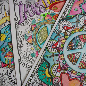 Hippie Coloring Pages, The Poster  Collection, Set of 3, Singleton Hippie Art