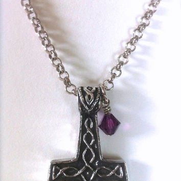 Celtic Thor Mjolnir Hammer Pendant, Mythological Necklace for Men, Women & Teens, Amethyst Pendant, Unisex Jewelry