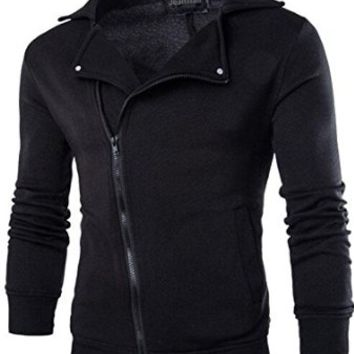 jeansian Men's Fashion Zipper Solid Jacket Coat Sweatshirts 9336