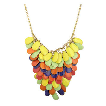 Cora's Multi Color Enamel Teardrop Bib Necklace - Final Sale