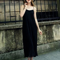 Black Spaghetti Strap Pleated Maxi Dress
