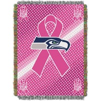 Seattle Seahawks NFL Woven Tapestry Throw (Breast Cancer Awareness) (48x60)