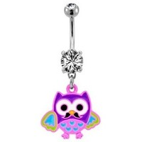 Owl with Mustache Belly Ring Dangle