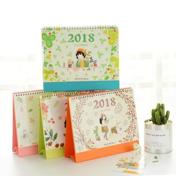 2018 Diy Print Flower girl Desk Calendar