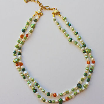Freshwater Pearl Necklace, Multistrand necklace, Multi color pearls, Adjustable length, Spring colors