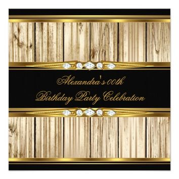 Elegant Birthday Party Rustic Wood Gold Black Invitation