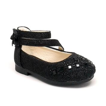 Baby Black Glitter Shoes with Hook and Loop Strap