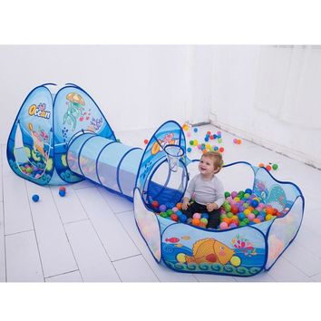 Folding Kids Pool-Tube-Teepee Toy Tents Pop-up Baby Crawling Tunnel Huge Game Yard Ocean Ball Pool Lodge Tents Toy 985-Q64