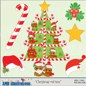 40% OFF Cute Christmas Baby Owl in a tree for clipart and card design, vector graphics, digital clipart, instant download AMB-359