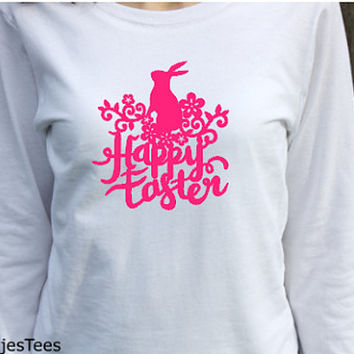Happy Easter Shirt, Womens Long Sleeve