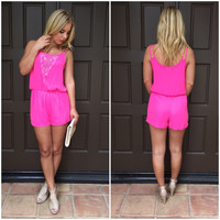High Standard Romper - Fuschia