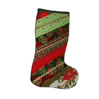 Quilted Stocking, Handmade Quilted Christmas Stocking, Patchwork Quilted Stocking, Red and Green Stocking