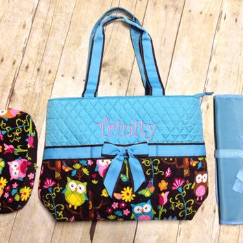 Owl Monogrammed Quilted 3 Piece Diaper Bag Set