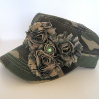 Cadet Distressed Green Camouflage Hat with Camouflage Chiffon Fabric Flowers and a Silver and Green Matching Accent....Duck Dynasty Fans