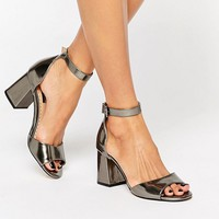 Miss KG Geena Ankle Strap Gunmetal Mid Heeled Sandals at asos.com