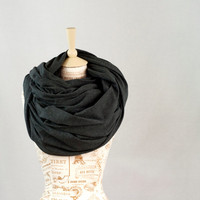 Oversized Infinity Scarf, Chunky Dark Grey Gray Jersey Cowl Scarf, Extra Large Jersey Circle Shawl Scarf, Large Scarves, Hooded Circle Scarf