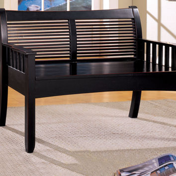 A.M.B. Furniture & Design :: Living room furniture :: Ottomans & Footstools :: Solimar II Distressed Black Solid Wood Finish Country Style Bench with Under Seat Storage