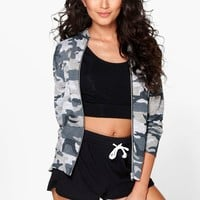 Hollie Camo Print Knitted Bomber