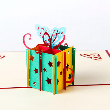 Happy Birthday Gift box & Butterfly Handmade Creative 3D Pop UP Birthday Greeting & Gift Cards Free Shipping