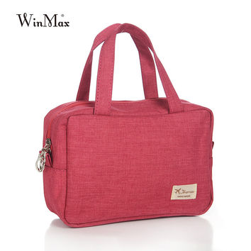 New Fashion Women Canvas Cosmetic Cases Female Travel Casual Waterproof Portable Make Up Bags Solid Zipper Trunk Cosmetic bags