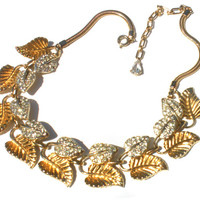 "Corocraft Necklace 40s Gold and Silver Rhinestone Leaf Necklace Adjustable from 13"" to 16"" - Signed Coro Vintage Jewelry"