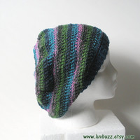 Striped Crochet Slouch Hat in pink, green,turquoise, and navy stripes, ready to ship.