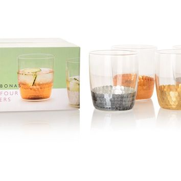 Set of Four Mixed Metallic Glass Tumblers | Oliver Bonas