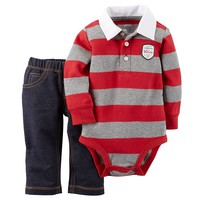 Carter's Rugby Bodysuit & Pants Set - Baby Boy, Size: