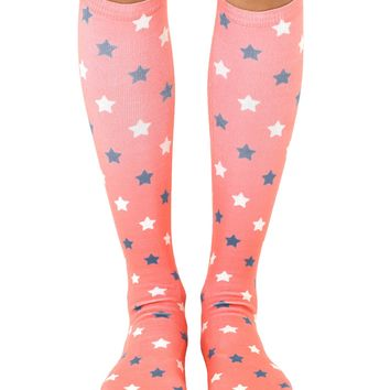 Faded Stars Knee High Socks