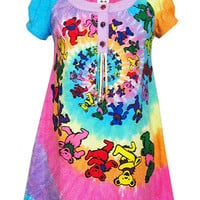 Grateful Dead Spiral Bears Psychedelic Tunic Dress