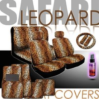 New Yupbizauto Brand 16 Pieces Safari Leopard Print Low Back Front Car Seat Covers, Rear Bench Cover, Seat Belt Covers, Steering Wheel Cover, 4 Pieces Carpet Floor Mats and a 2 oz Purple Slice Car Wash Free Detailer/Multipurpose Cleaner