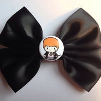 Ronald Ron Weasley Hair Bow - Harry Potter Hairbow Cute Gryffindor Black Satin Fandom Button Badge Wizard Cute