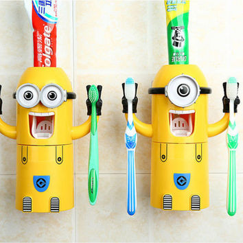new Cute Minions Design Set Cartoon minecraft Toothbrush Holder Automatic Toothpaste Dispenser with Brush Cup Free Shipping