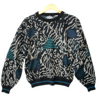 Shapes and Animal Print Vintage 90s Acrylic Ugly Sweater - The Ugly Sweater Shop