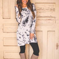 DIP DYE TUNIC- BLACK/WHITE