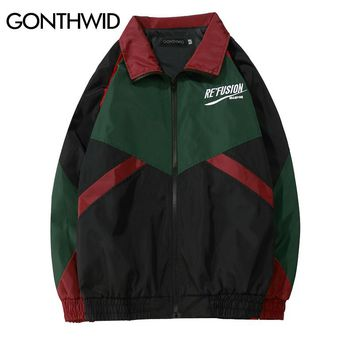 GONTHWID Vintage Color Block Patchwork Embroidery Full Zip Up Windbreaker Jackets 2018 Spring Autumn Hip Hop Casual Track Coats